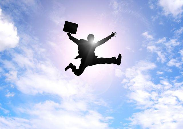 飛び跳ねるビジネスマン