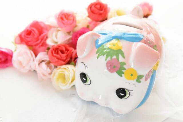 花と貯金箱