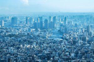 見下ろす都会の風景